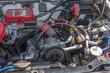 旧車のエンジンルーム engine compartment of a old vehicle