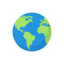 Flat Planet Earth Icon. Vector...