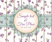 Vector Lace Frame With Text On Wooden Background. Blue Roses