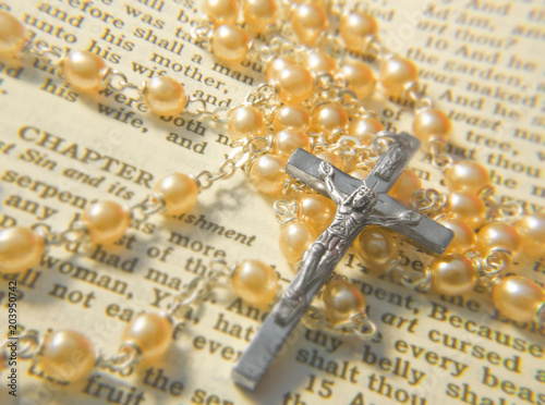 Rosary on a bible