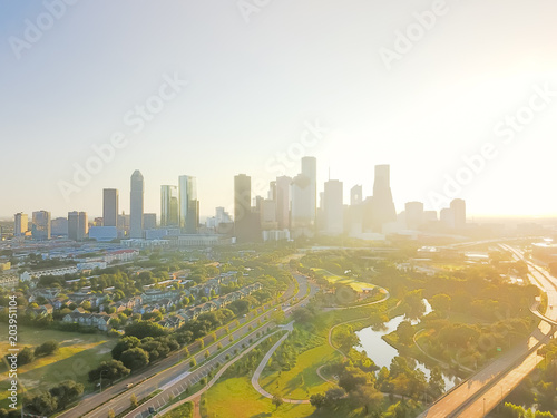 Aerial view Fourth Ward district and Alley Parkway, Memorial Drive west downtown Houston, Texas, USA Wallpaper Mural