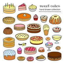 Set Of Hand Drawn Cakes.