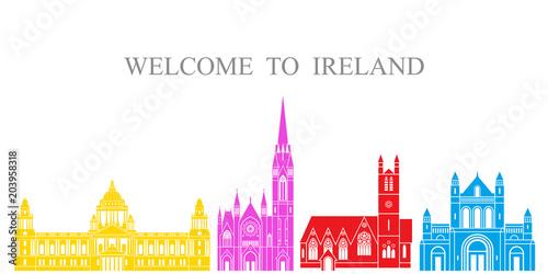 Ireland set. Isolated Ireland  architecture on white background Poster