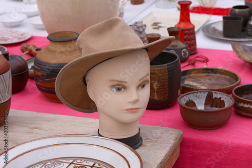 Scene from Flea market with model an hat where people sell and buy used toys, cl Poster
