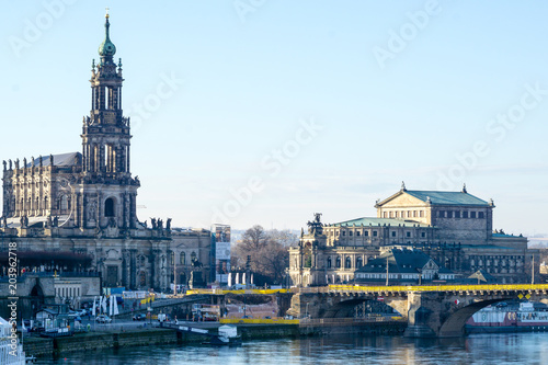 Foto op Canvas Theater Semperoper und Hofkirche kathedrale Augustusbrücke