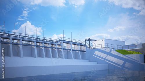 Keuken foto achterwand Dam Diga, bacino idrico, impianto idroelettrico, illustrazione 3d, BIM