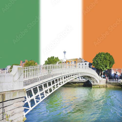 "Photo  The most famous bridge in Dublin called ""Half penny bridge"" on Irish flag backgr"