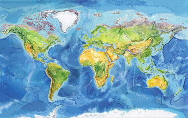 FototapetaWatercolor geographical map of the world. Physical map of the world. Europe, Asia, Africa, Australia, North America, South America, Antarctica, Indonesia. A realistic image.