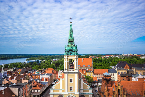 Tuinposter Barcelona Aerial view. Old town of Torun. Poland