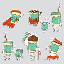 Set Of Coffee Characters, Emoticons Stickers. Vector Illustrations For Mobile Messages, Web Design, Printed Material.