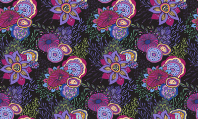 Seamless pattern with hand drawn floral fantasy motif
