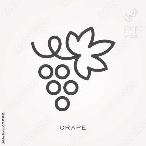 Fotografiet  Line icon grape
