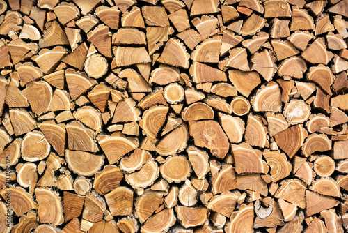 Poster Brandhout textuur A photo of dry chopped wood, wooden logs for a fire or a fireplace neatly stacked in a pile