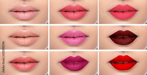 Fotografie, Obraz  Set or collage female lips with different color of lipsticks on the female lips