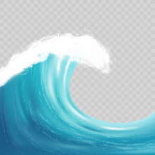 Sea Big Wave With White Foam. Realistic Vector Image