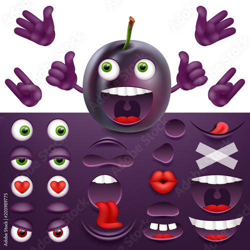 Emoji, smiley creator from plum  Collection of details for