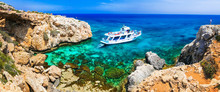 Amazing Sea And Rocks Formation In Cyprus. Boat Trips In  Natural Park Cape Greko