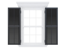 Open White Window With Black Doors Fonrt View Isolated On A White Background 3d Rendering
