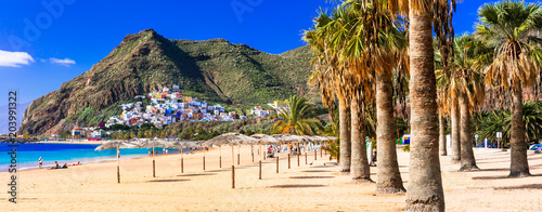 Tuinposter Canarische Eilanden Best beaches of Tenerife - Las Teresitas near Santa Cruz. Canary islands