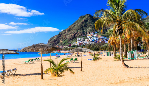 Foto op Canvas Canarische Eilanden Golden beautiful beach Las Teresitas - Teneride island