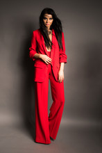Fashion Photoshoot Of Young Woman In Suit