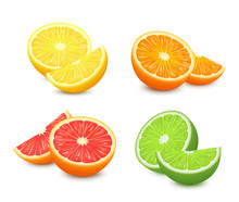 Fresh Citrus Fruits Set. Orange Grapefruit Lemon Lime Isolated Vector Illustration. 3d Realistic Vector