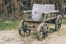 Antique Cart With Three Barrel...