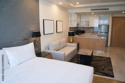 Comfortable Studio Apartment Design Hotel Room Interior