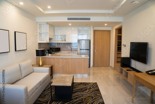 Foto  Modern interior design of studio apartment