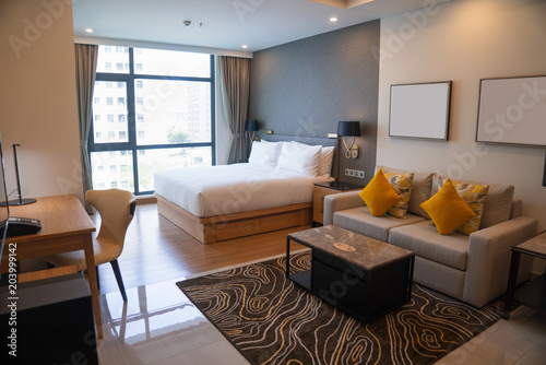 Modern studio apartment design with bedroom and living space. Hotel ...