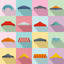 Canopy Shed Overhang Icons Set...