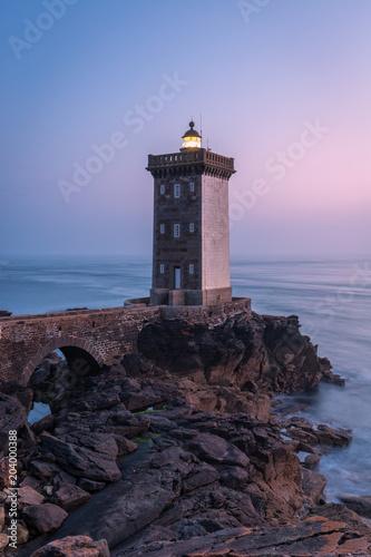 Poster Vuurtoren Kermorvan lighthouse, Le Conquet, most western part of France, Bretagne, France