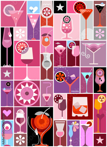 In de dag Abstractie Art Cocktails pop art vector collage