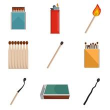 Safety Match Ignite Burn Icons...