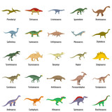 Fototapeta Dino - Dinosaur types signed name icons set. Flat illustration of 25 dinosaur types signed name vector icons isolated on white
