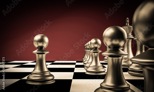 Black pawn are leader to fight with teamwork to victory. Business concept 3d rendering for leadership.