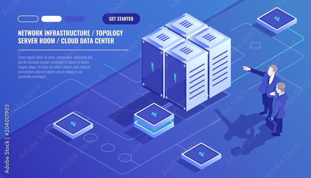 Fototapeta Network infrastructure, server room topology, cloud data center, two businessman, data analysis and statistics, server room rack isometric vector technology