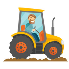 A White Happy Farmer In Tractor On A Rural Farm Field. A Worker In Rural Area. Arming, Country, Agriculture, Harvest And Gardening Concept. Vector Cartoon Illustration Isolated On White Background.