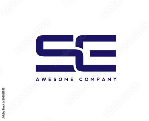 creative letter se logo design elements simple letter s and e