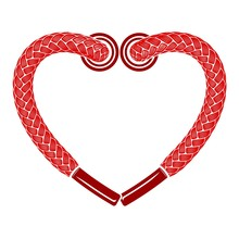 Red Heart Shoelaces Icon, Simple Style