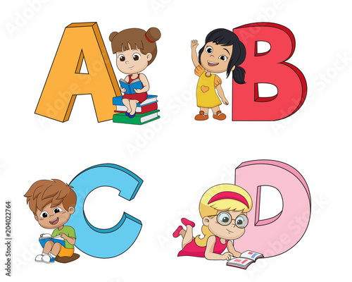 Staande foto Kinderkamer Children learn the English alphabet.Vector and illustration.