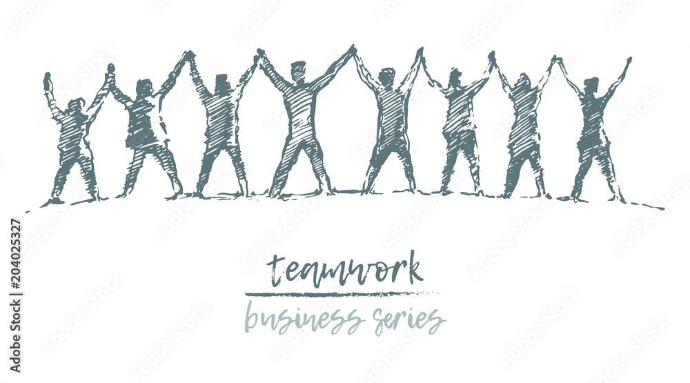 Fototapeta Business people hands spirit togetherness vector