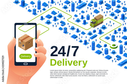 Delivery Service Vector Illustration Of Isometric Logistics Poster
