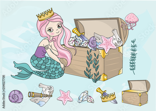 Fairy Clipart Mermaid Treasures Color Vector Illustration Cartoon