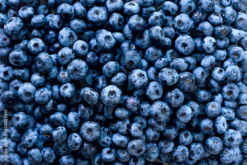 Leinwand Poster Macro texture of blueberry berries close up
