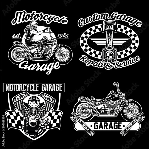 Foto chopper motorcycle black white set