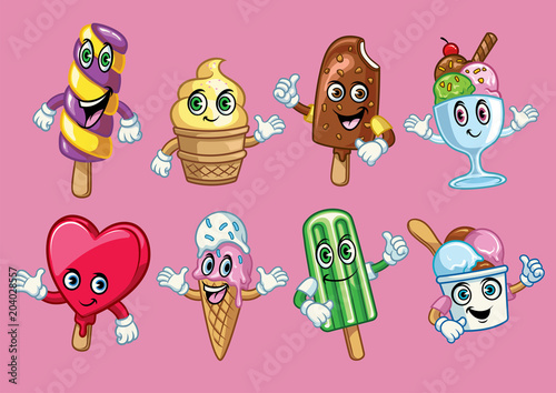 Poster Creatures ice cream cartoon character
