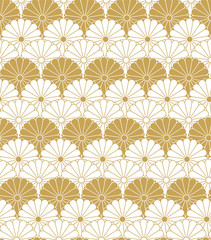Fototapeta Japoński Japanese pattern vector. Floral background. Gold flower elements