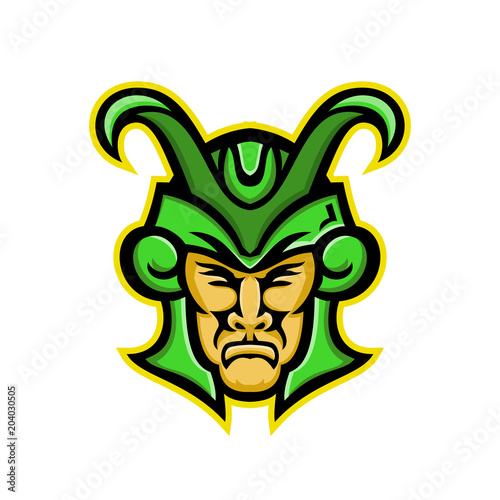 Photo  Mascot icon illustration of head of Loki, a god in Norse mythology, who is a  shape shifter viewed from  front on isolated background in retro style