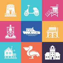 Travel Seaside Icon Set. Summer Sea Resort Outline Icons With Typical Sea Town Or Fishing Village Elements. Including Scooter, Boat, Pelican, Lighthouse, Guard Tower, Pier And More.